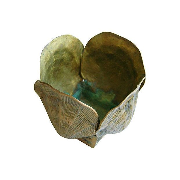 Image of Mid-Century Brass Clamshell Planter