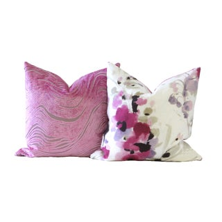 Pink Velvet Designer Down Pillow