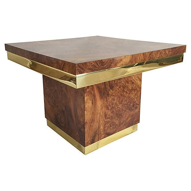 Burl and Brass Accent Table - Image 4 of 5