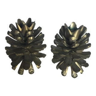 Brass Pine Cone Candle Holders - A Pair