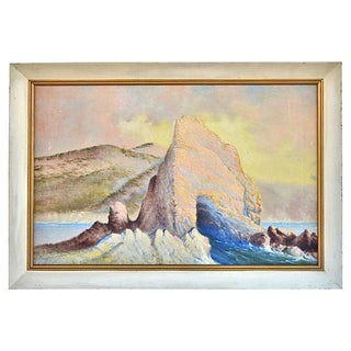 Vintage Rock Formations Oil Painting