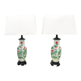 Vintage Asian Lamps - Water Lilies - a Pair