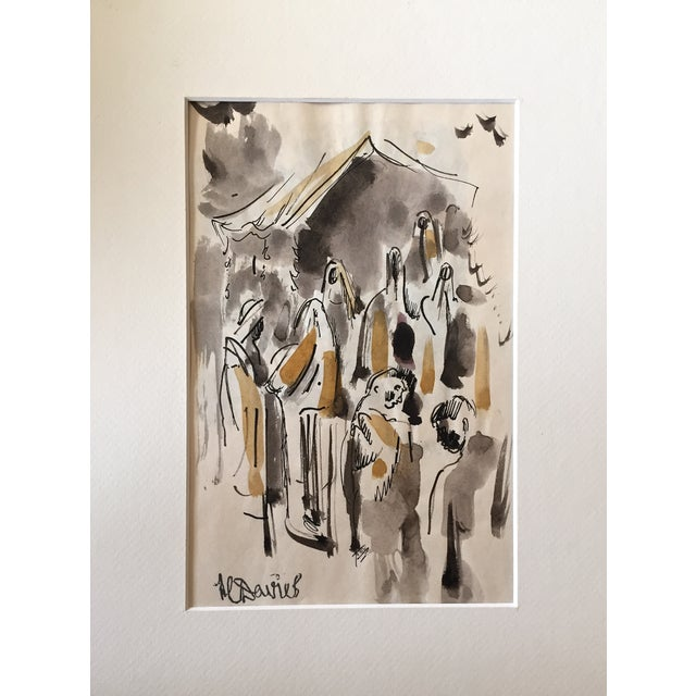 H. Davies Mid Century Modernist Watercolor Drawing - Image 2 of 4