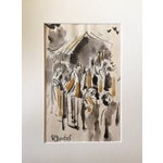 Image of H. Davies Mid Century Modernist Watercolor Drawing