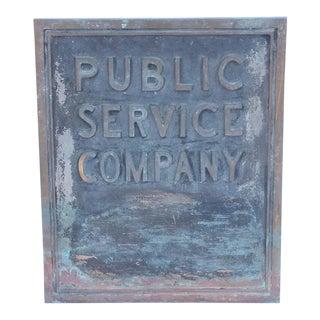 """1900s Bronze Sign, """"Public Service Company"""""""