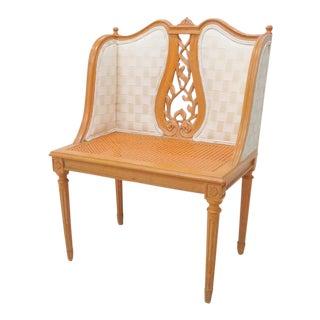Louis XVI Style Orange Cane Vanity Bench