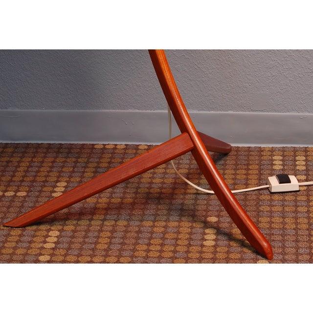 Vintage Danish Modern Teak Bowed Floor Lamp - Image 4 of 10