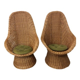 Boho Chic Wicker High Back Chairs - A Pair