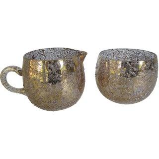 West Virginia Gold Glass Cream & Sugar Set - Pair