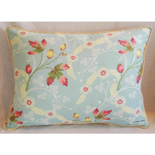Powder Blue Scalamandré Floral Brocade Pillows - A Pair - Image 4 of 11