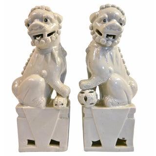 White Ceramic Foo Dogs - A Pair
