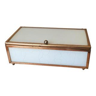 White Stained Glass & Brass Trinket Box