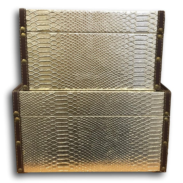 Gold Faux-Snakeskin Nesting Boxes - A Pair - Image 4 of 6