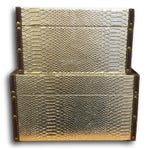 Image of Gold Faux-Snakeskin Nesting Boxes - A Pair
