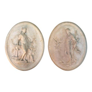 19th Century Italian Oval Plaster Relief Wall Sculptures - A Pair
