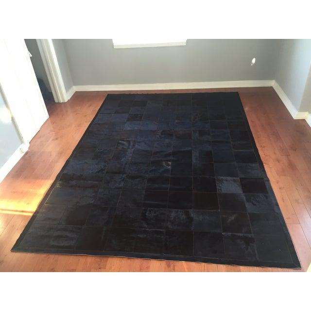 Cow Hide Tile Rug - Dark Brown 6' X 9' - Image 2 of 6