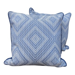 Schumacher Tortola Marine Pillows - A Pair