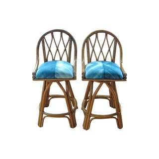 Rattan Bar stools with Indigo Shibori - A Pair