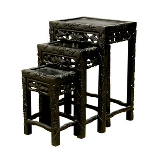 Chinese Ebonized Nesting Tables - Set of 3