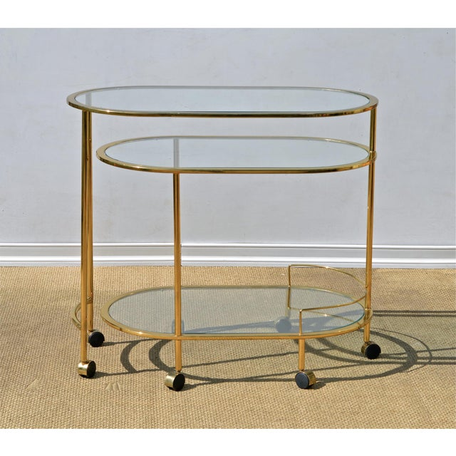 Brass & Glass Bar Cart - Image 4 of 9