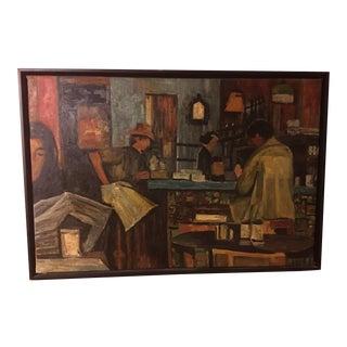 Coffeehouse Scene Oil on Canvas