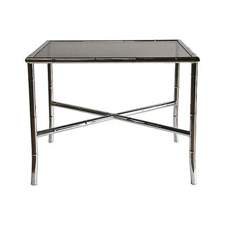 Chrome Bamboo Style Cocktail Table