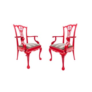 Red Lacquered Chinese Chippendale Arm Chairs - A Pair