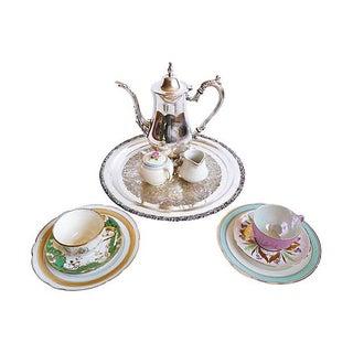 Silver & China Mismatched Tea Set- 10 Pieces