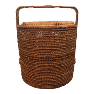Antique Chinese Tiered Wicker Basket