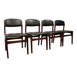 Mid-Century Mobler Style Curved Walnut Dining Chairs - Set of 4