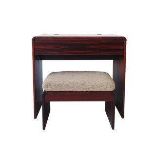 Vintage Mid Century Modern Rosewood Vanity Table & Stool