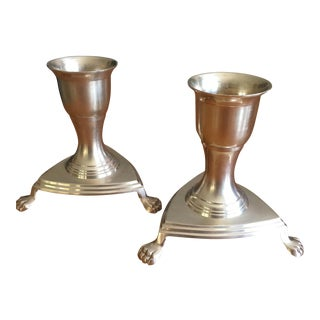 Vintage Claw Foot Brass Candle Holders- A Pair