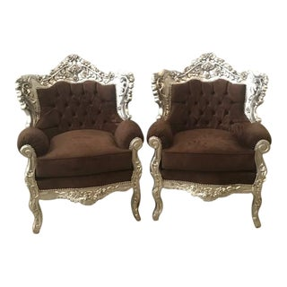 Baroque Bergère Style Chairs - A Pair