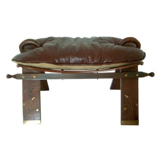 Antique Inlaid Camel Seat & Plush Leather Cushion