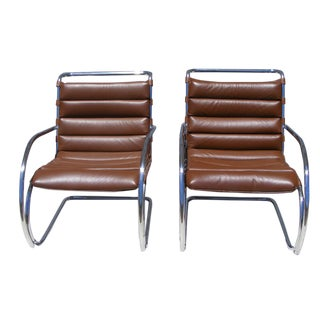 Knoll Mies Van Der Rohe MR Lounge Armchairs - A Pair