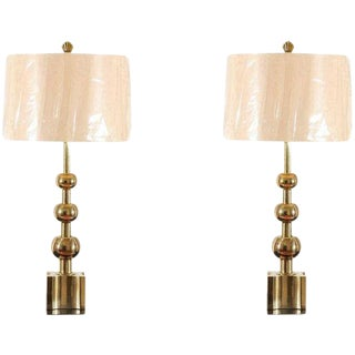 Iconic Restored Pair of Brass Graduated Ball Lamps by Stiffel