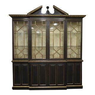 Councill Craftsmen Black Regency Breakfront Bookcase