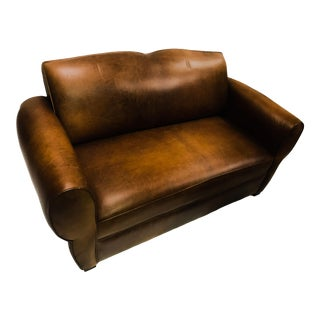 1930's French Brown Leather Moustache Back Settee Loveseat Sofa