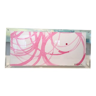 Lucite Framed Pink Circles on Paper