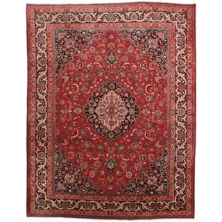 Hand-Knotted Persian Mashad Rug - 9′10″ × 12′10″