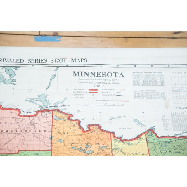 Antique Nystrom Pull Down Map of Minnesota - Image 9 of 9