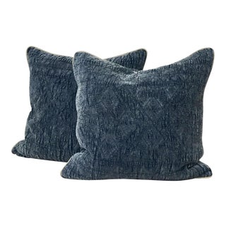 Denim & Khaki Blue Pillows - A Pair