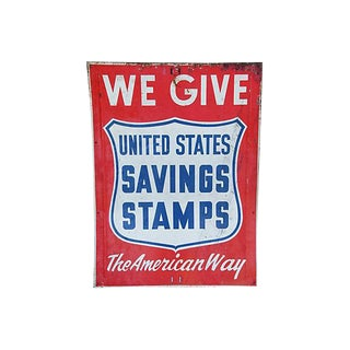 """Large 36"""" X 48"""" 1950s Vintage the American Way Metal Sign"""