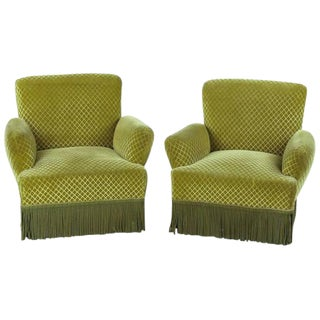 1940s Napoleon III Style Upholstered Armchairs - A Pair