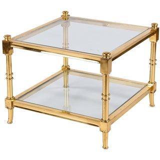 Vintage Maison Jansen Style Brass Side Table