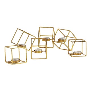 Sparkling Gold 6 Cube Candle Holder