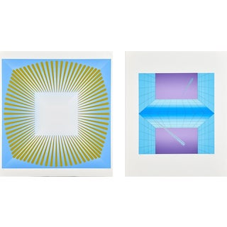 "Aijiro Wakita ""Fuyu-3"" and ""Untitled Blue Gold"" Silkscreens- A Pair"