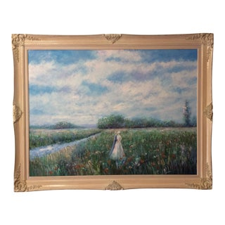 Monumental T. Woods Impressionist Oil Painting