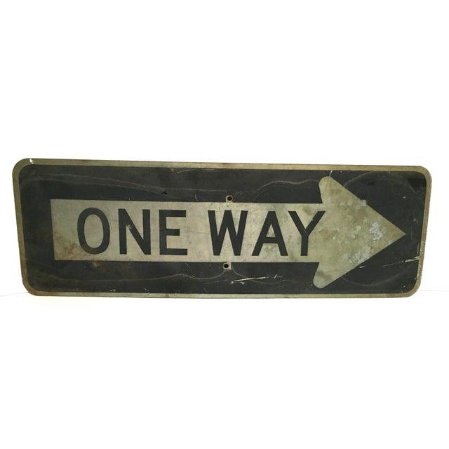 Vintage 'One Way' Arrow Road Sign - Image 1 of 5