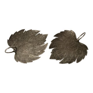 Sterling Silver Leaf Platters - A Pair